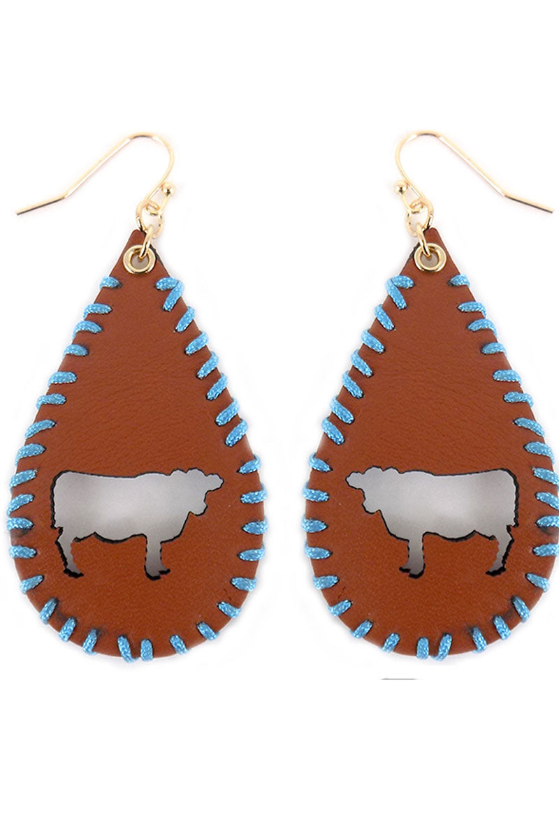 Cut-Out Cow Whipstitch Brown Teardrop Earrings