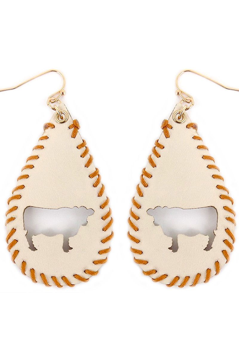 Cut-Out Cow Whipstitch Ivory Teardrop Earrings