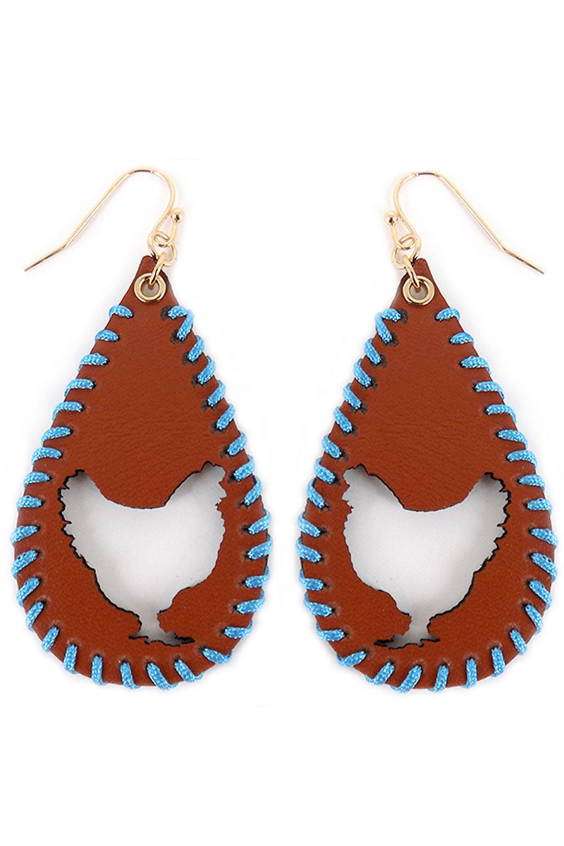 Cut-Out Rooster Whipstitch Brown Teardrop Earrings