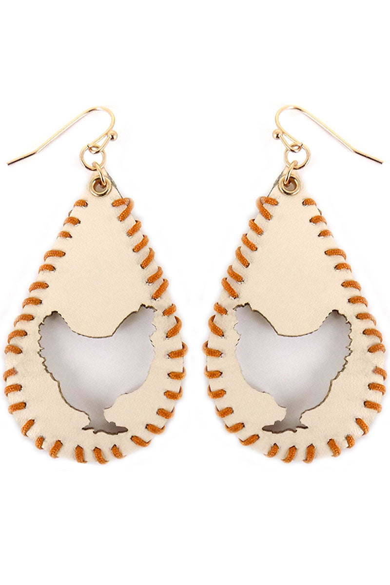 Cut-Out Rooster Whipstitch Ivory Teardrop Earrings