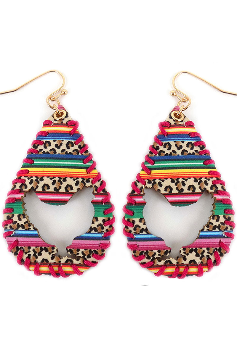 Cut-Out Rooster Whipstitch Wild Serape Teardrop Earrings