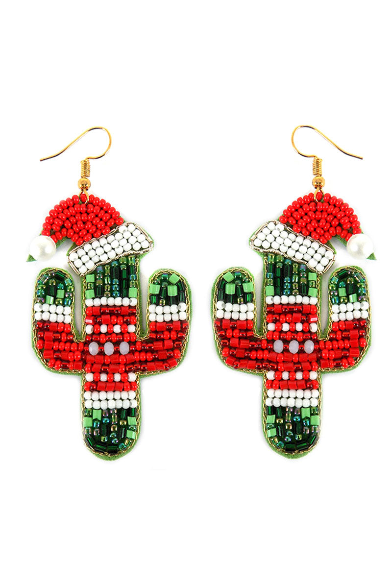 Ugly Sweater Cactus Beaded Earrings