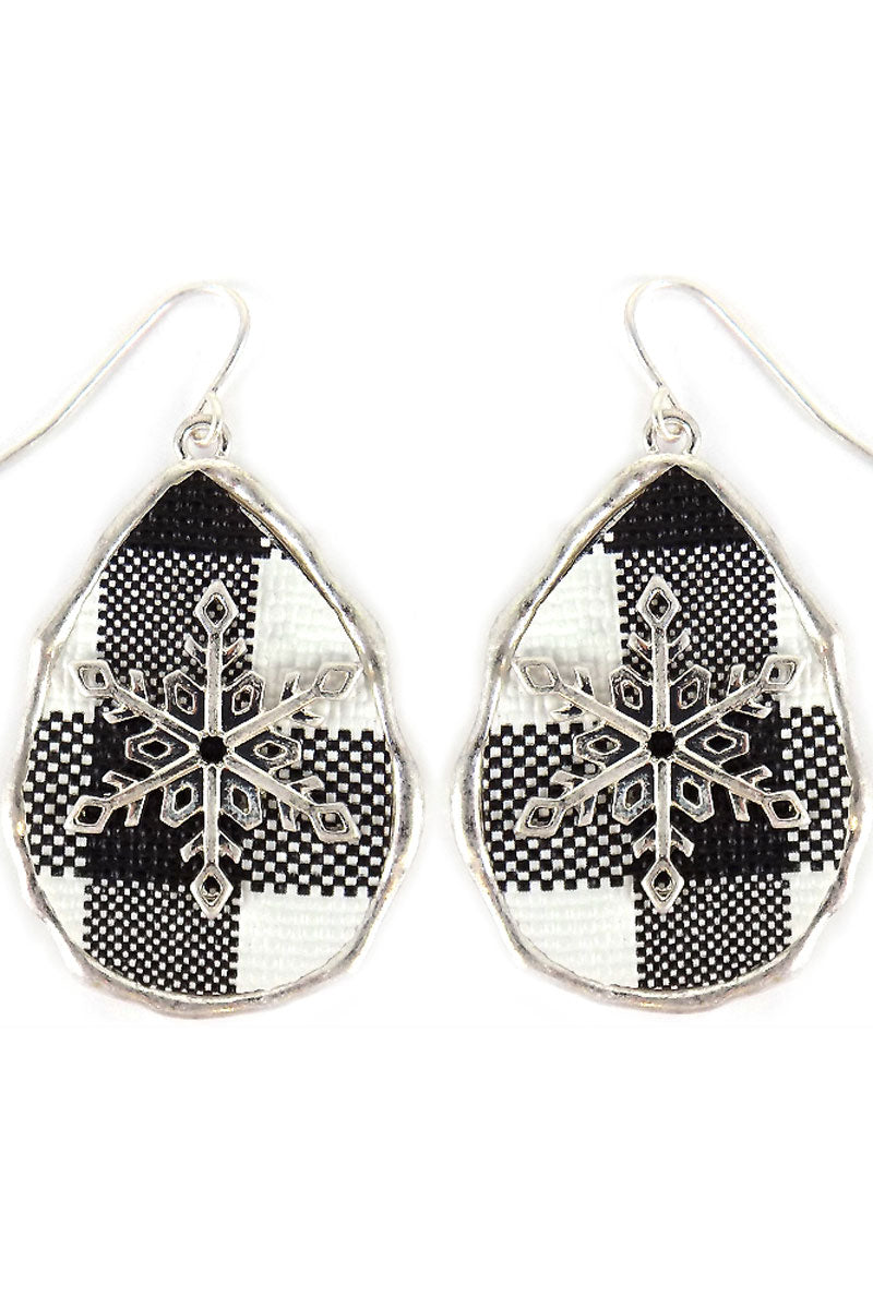 Black Buffalo Plaid Snowflake Teardrop Earrings