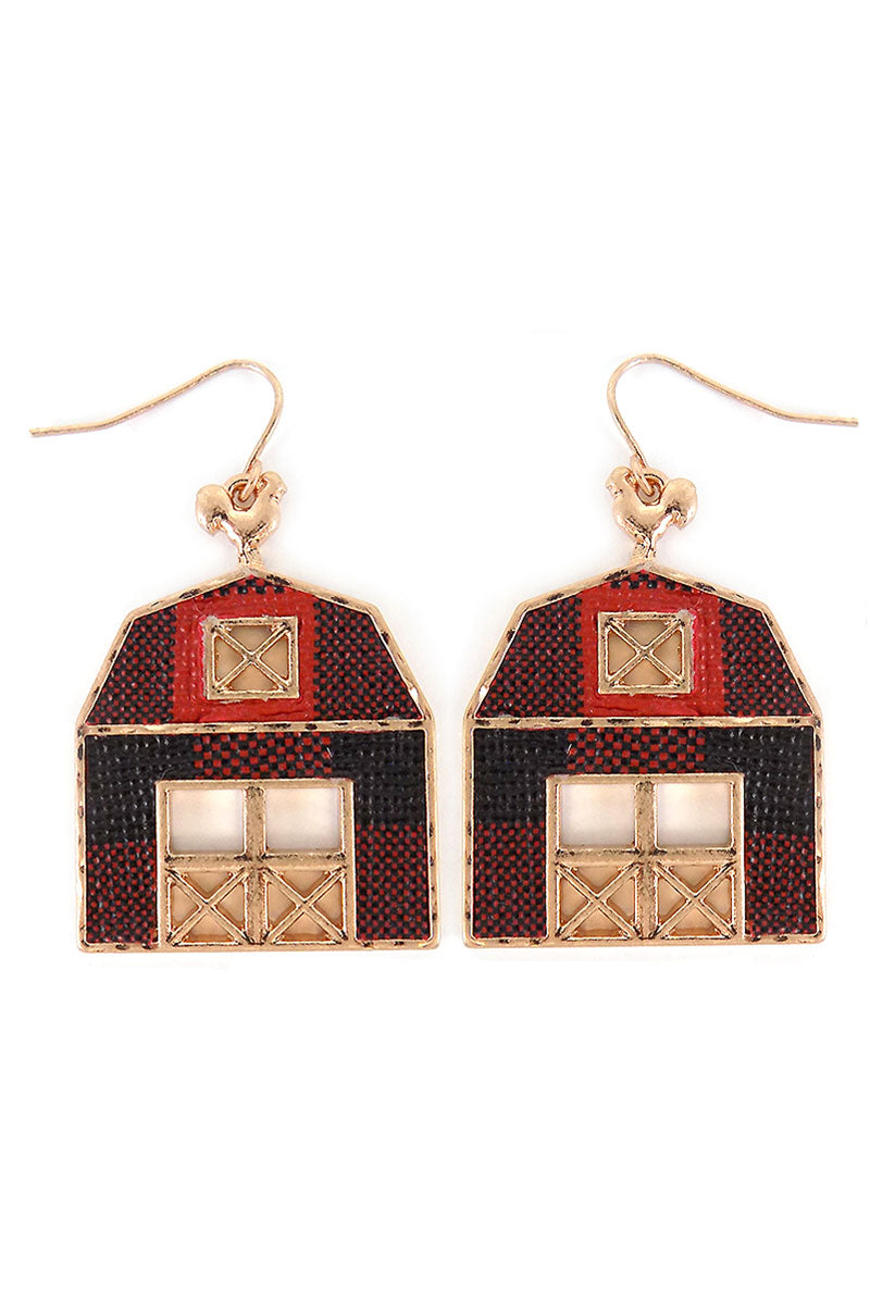 Red Buffalo Plaid Barn Earrings