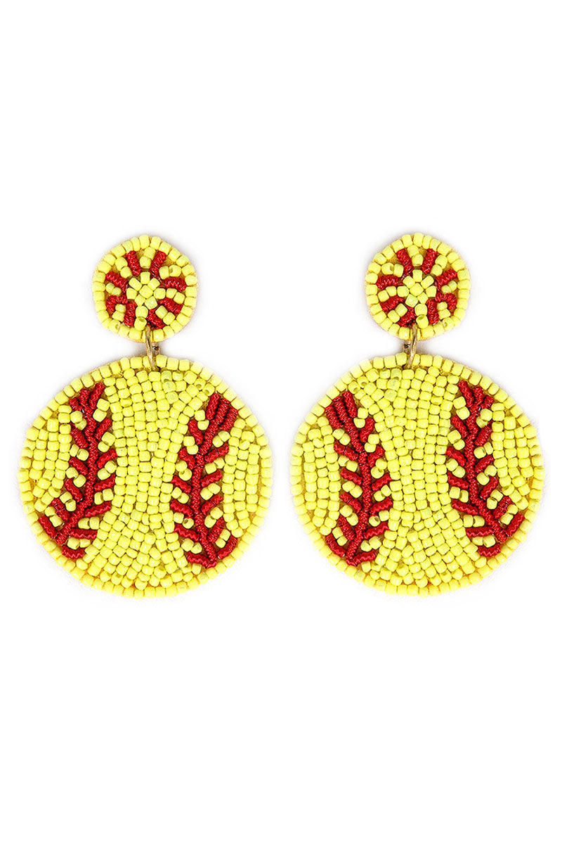 Softball Seed Bead Earrings