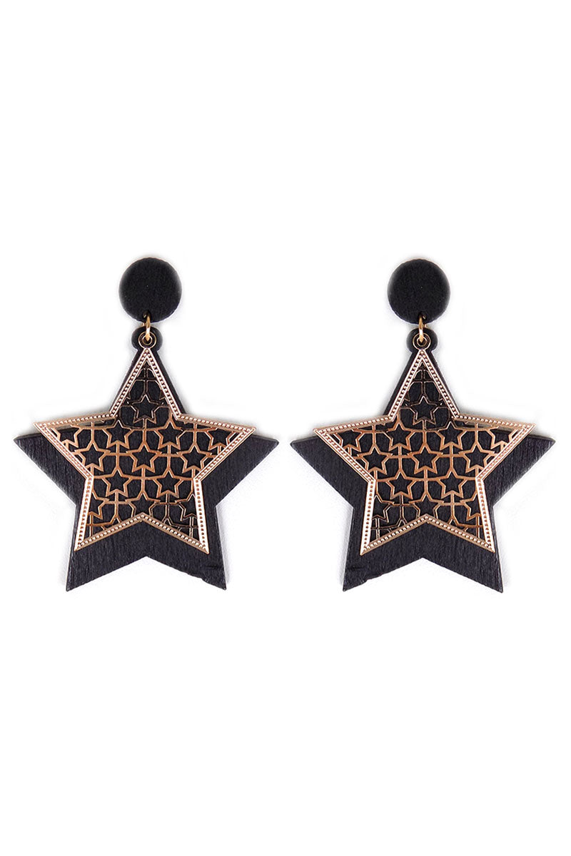 Goldtone Cut-Out and Black Wood Star Earrings