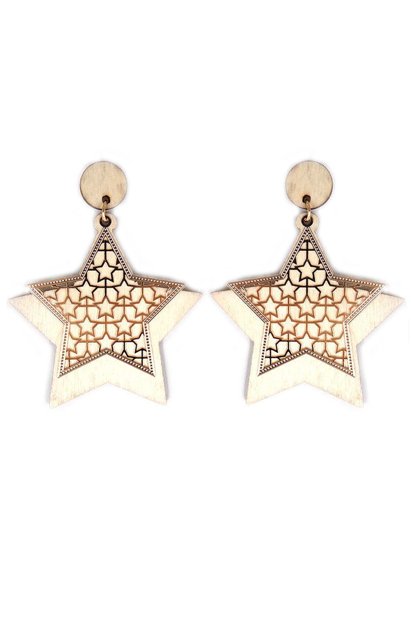 Goldtone Cut-Out and Ivory Wood Star Earrings