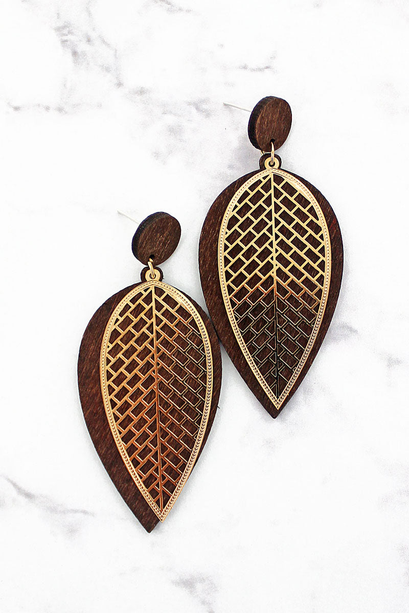Goldtone Cut-Out and Brown Wood Leaf Earrings
