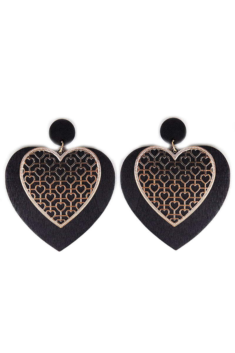 Goldtone Cut-Out and Black Wood Heart Earrings