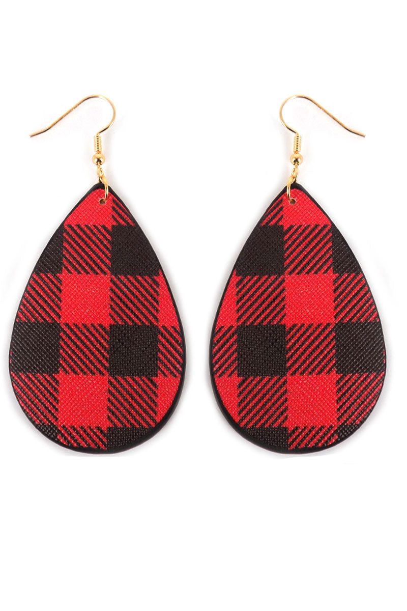 Red Buffalo Plaid Teardrop Earrings