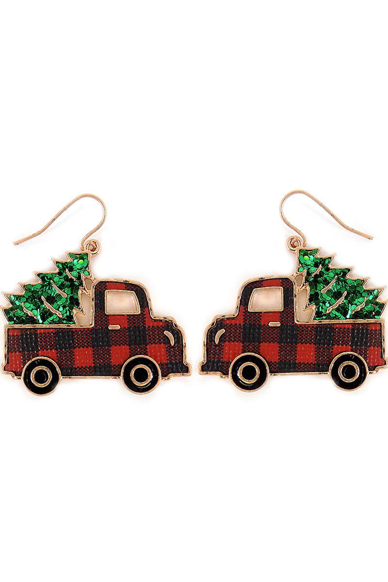 Red Buffalo Plaid Truck with Glitter Tree Earrings