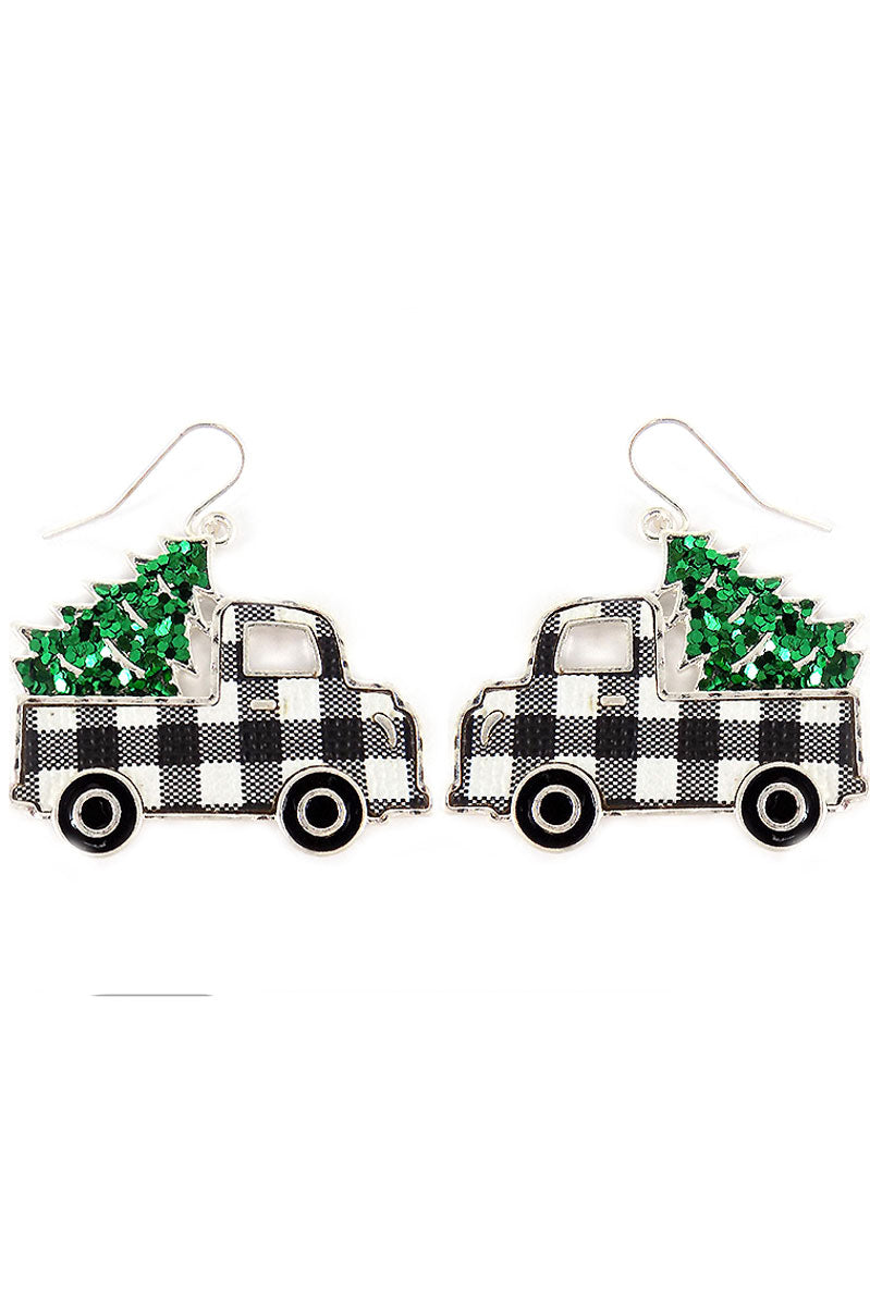 Black Buffalo Plaid Truck with Glitter Tree Earrings