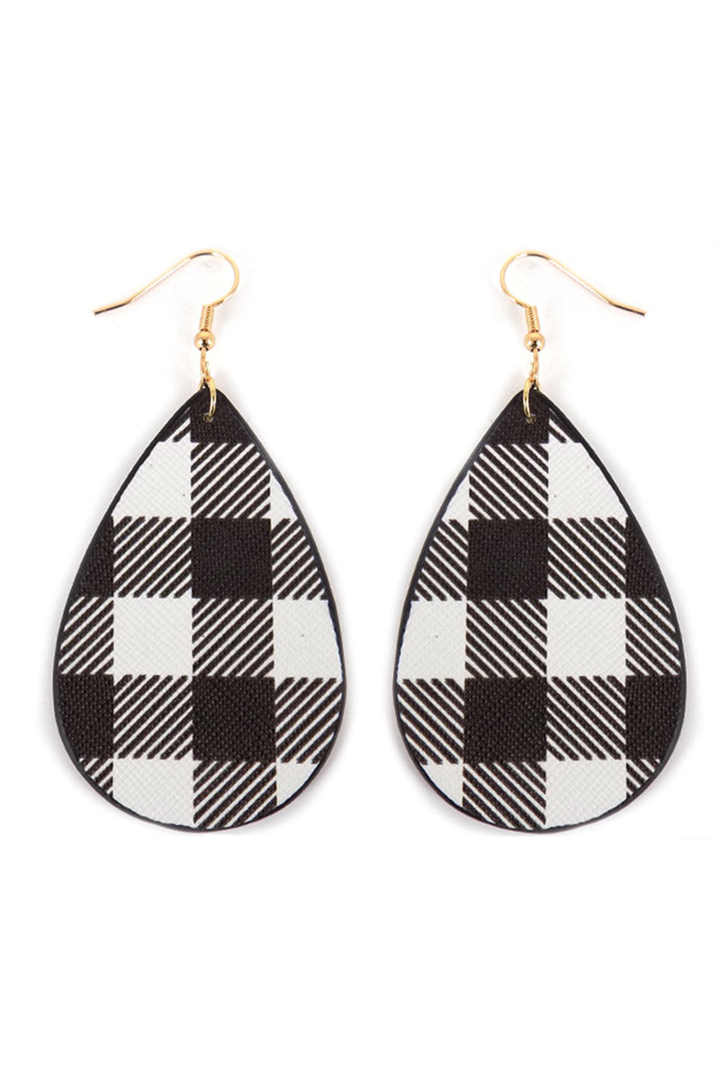 Black Buffalo Plaid Teardrop Earrings