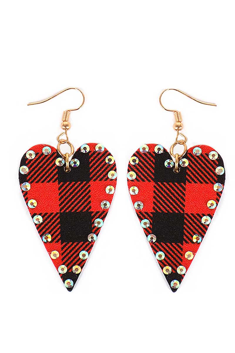 Red Buffalo Plaid Crystal Heart Faux Leather Earrings