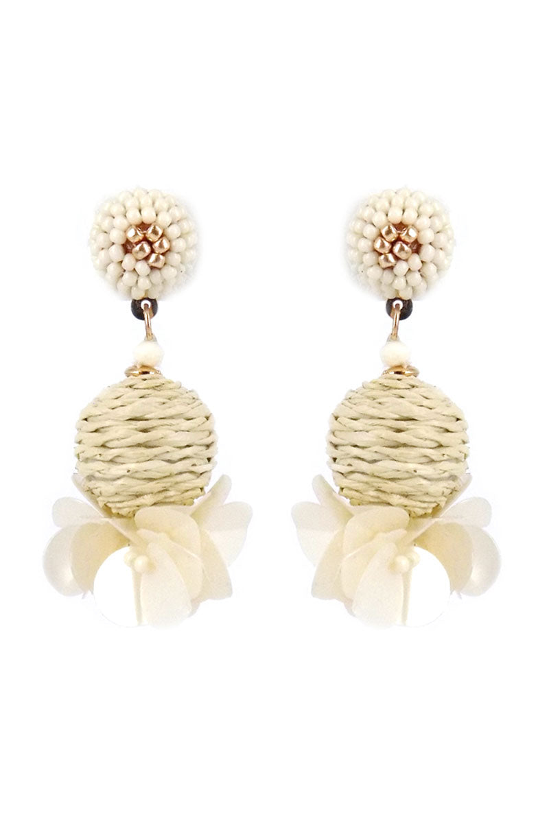 Ivory Montego Bay Raffia Sphere Earrings