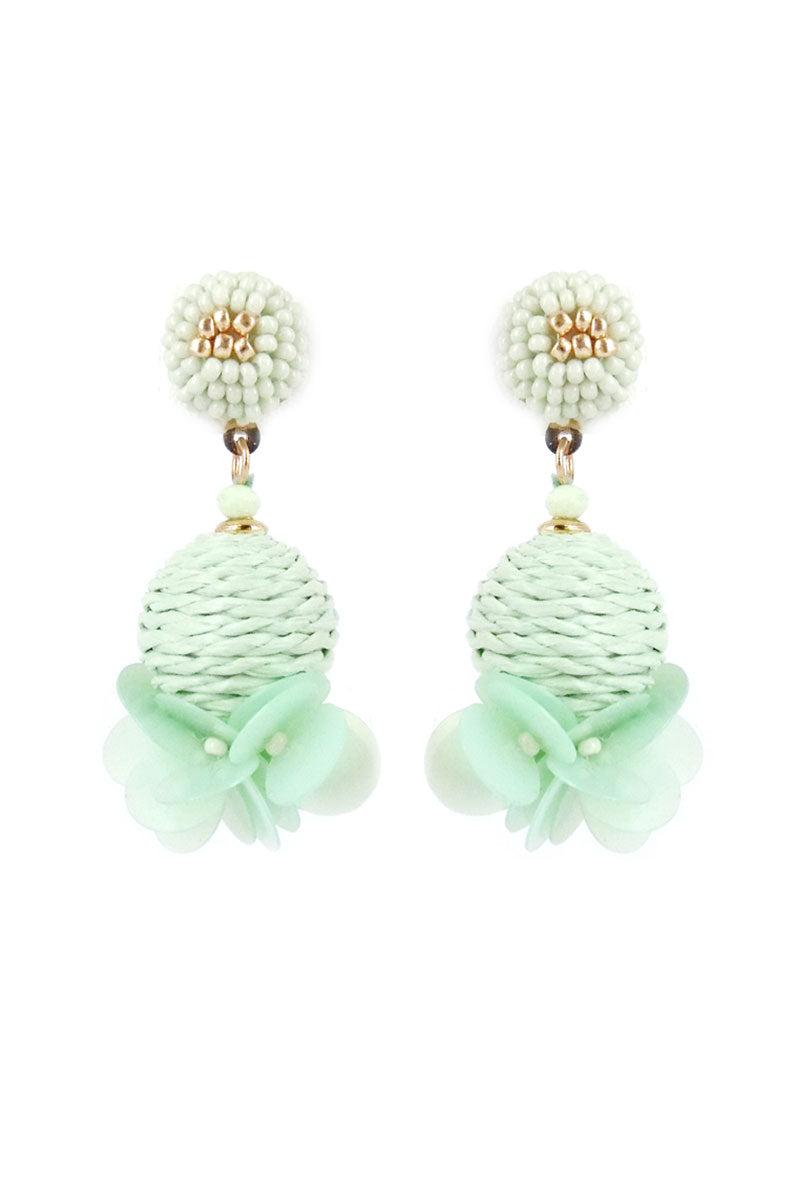 Mint Montego Bay Raffia Sphere Earrings