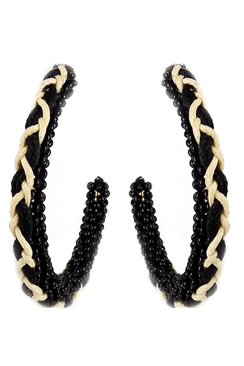 Black Braided Seed Bead Hoop Earrings