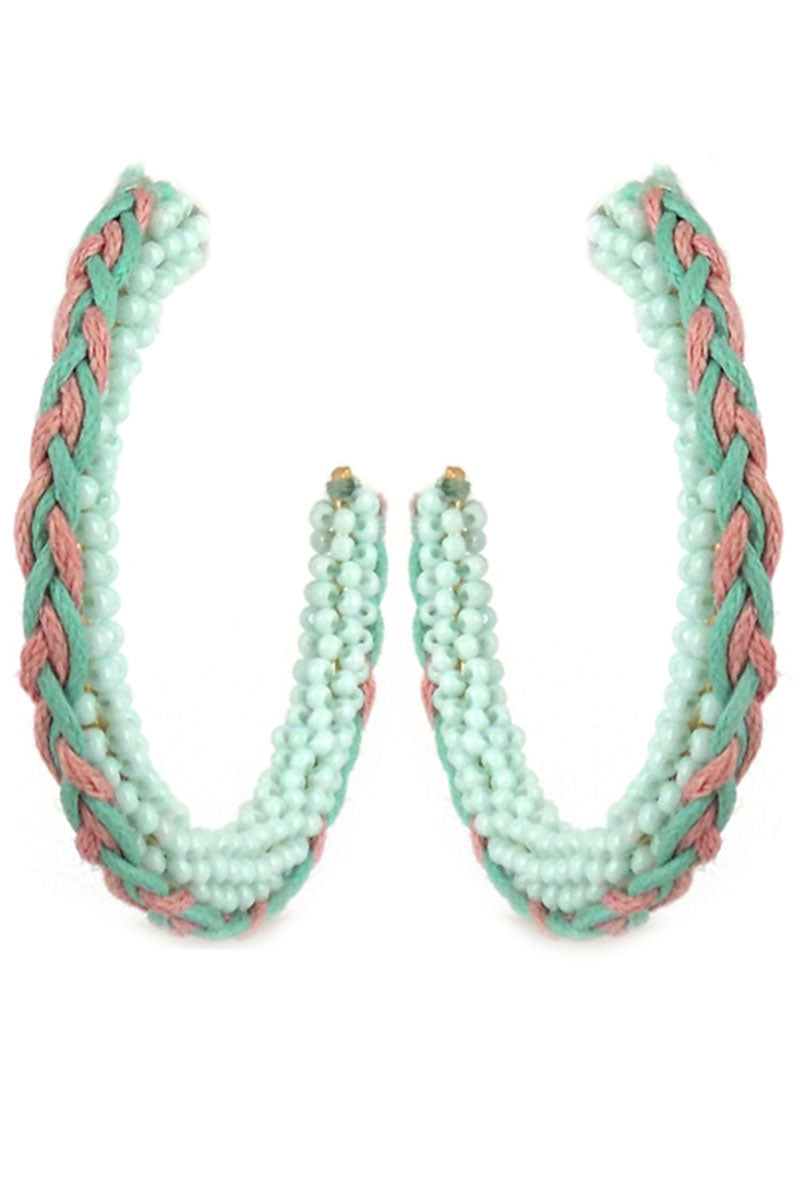 Mint Braided Seed Bead Hoop Earrings