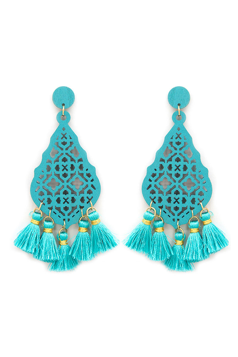 Turquoise Wood Tangier Teardrop Tassel Earrings