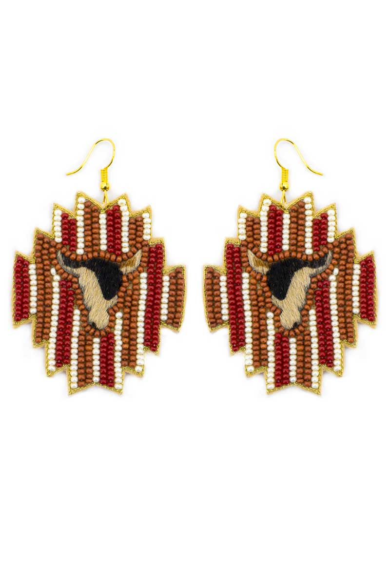 Wild West Longhorn Brown Striped Seed Bead Earrings