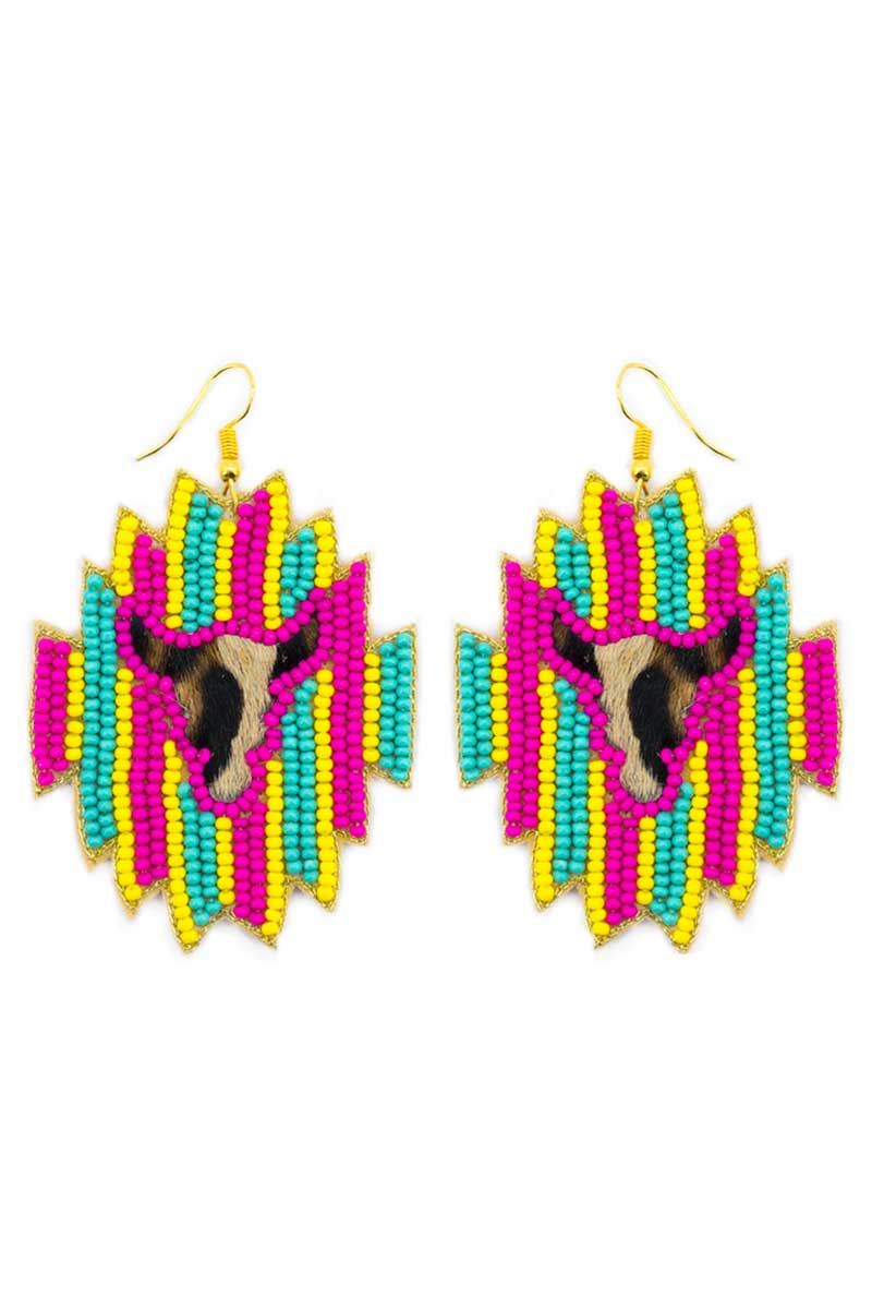 Wild West Longhorn Fuchsia Striped Seed Bead Earrings
