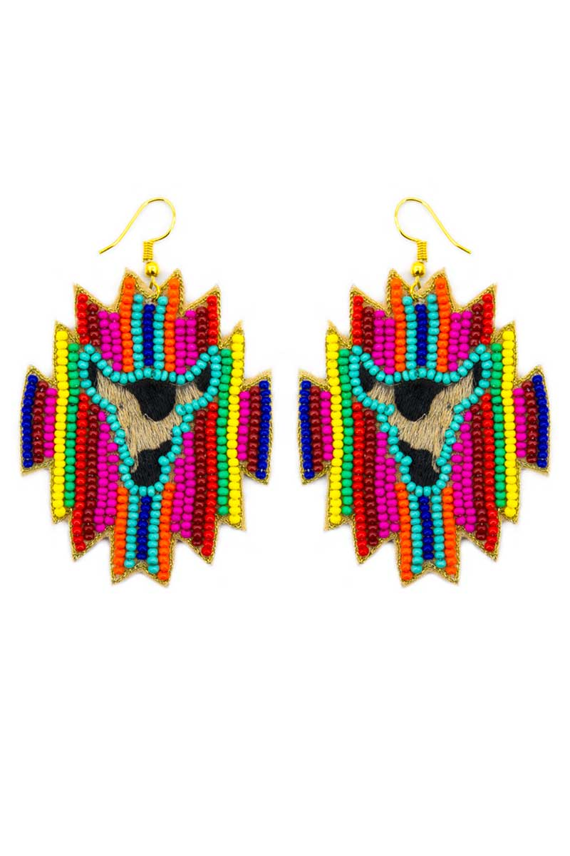 Wild West Longhorn Multi-Color Striped Seed Bead Earrings