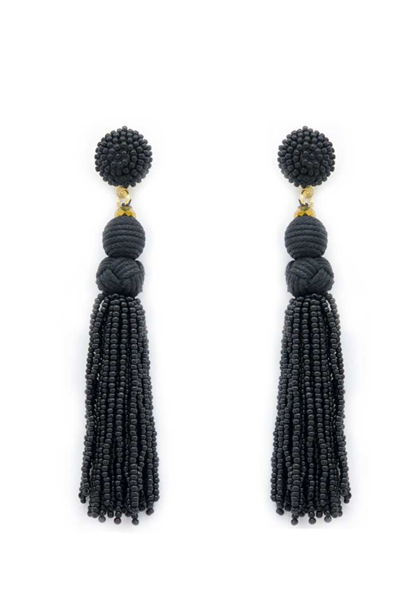 Black Braided Seed Bead Tassel Earrings