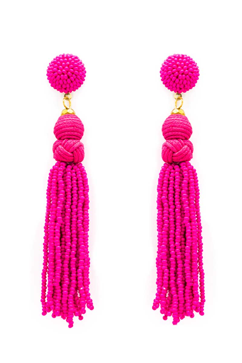 Fuchsia Braided Seed Bead Tassel Earrings