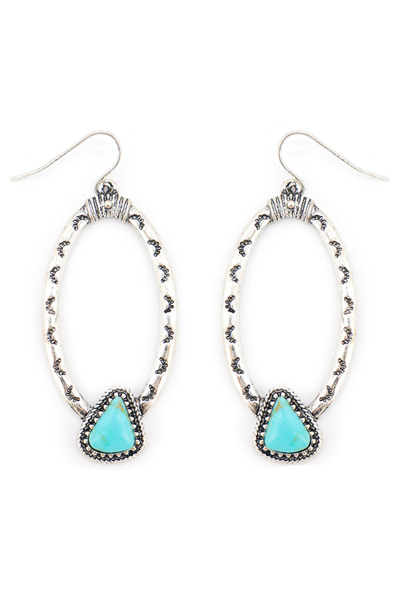 Turquoise Skagway Silvertone Oval Earrings