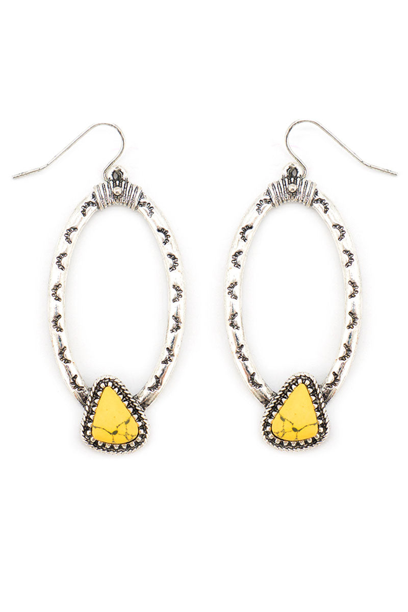 Yellow Skagway Silvertone Oval Earrings