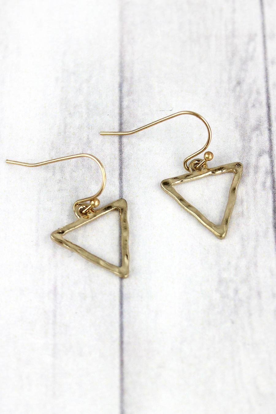 Crave Small Hammered Goldtone Triangle Earrings