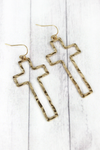 Crave Hammered Goldtone Cross Earrings