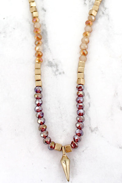SALE! Iridescent Brown Beaded Goldtone Spear Necklace