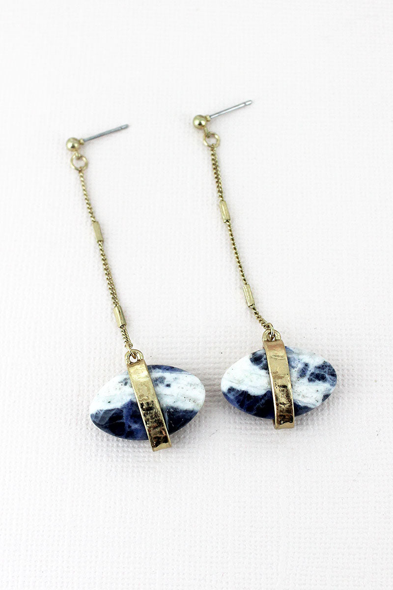 Worn Goldtone and Sodalite Oval Gemstone Chain Drop Earrings