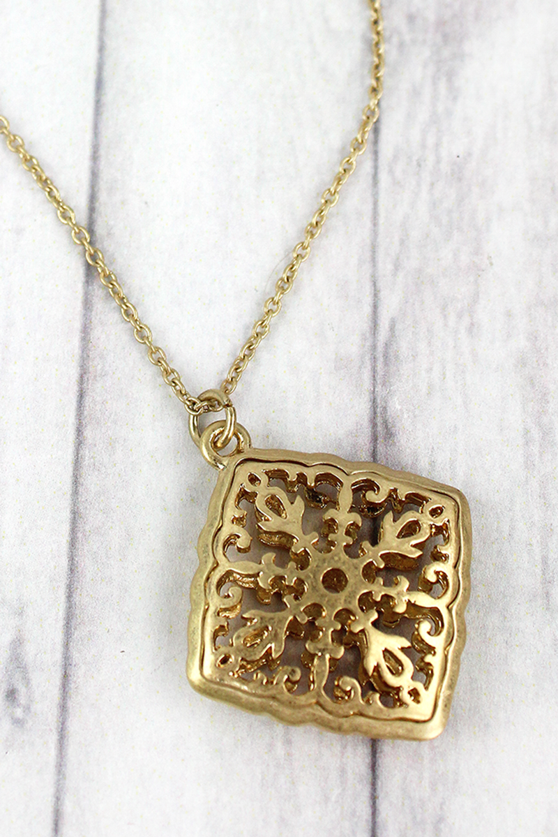 Crave Goldtone Puffed Filigree Diamond Pendant Necklace