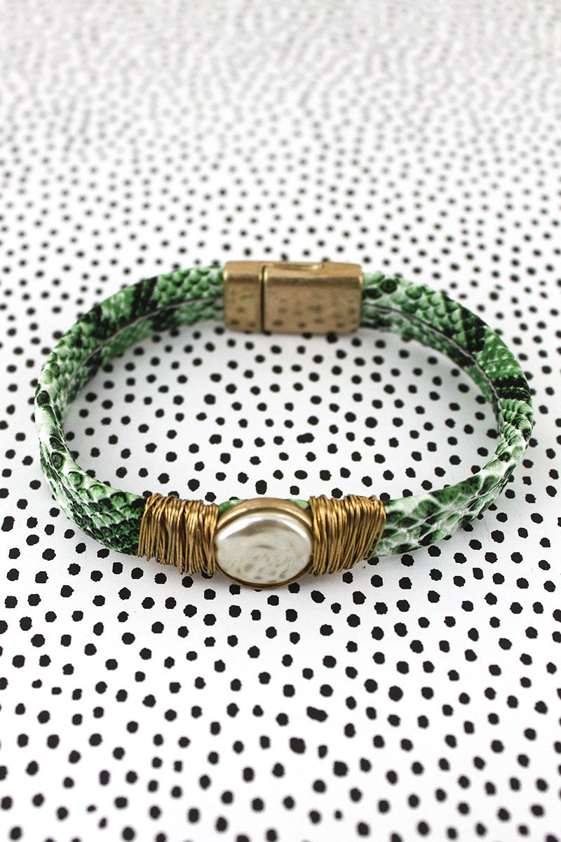 SALE! Goldtone Wire Wrapped Pearl Green Python Magnetic Bracelet