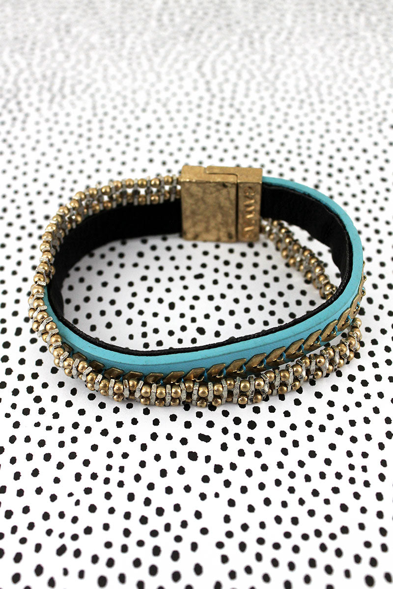 SALE! Aqua Faux Leather Chevron and Chain Criss-Cross Magnetic Bracelet