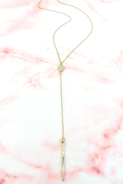 SALE! Crystal Pave Disk and Goldtone Spear Pendant Y Necklace