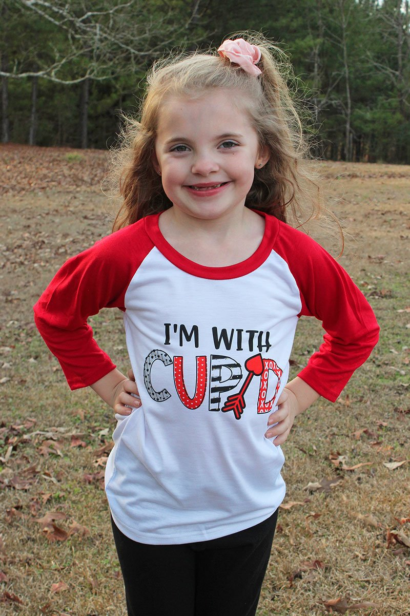 I'm With Cupid Kid's 3/4 Sleeve Raglan Tee