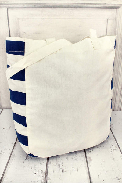 Gemline Chelsea Cotton Market Tote, Ivory and Navy