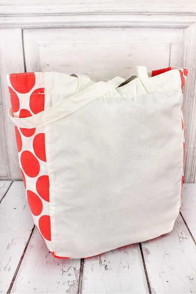 Gemline Chelsea Cotton Market Tote, Ivory and Coral