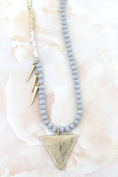 SALE! Crave Crystal Stripe Triangle & Spear Blue Beaded Necklace