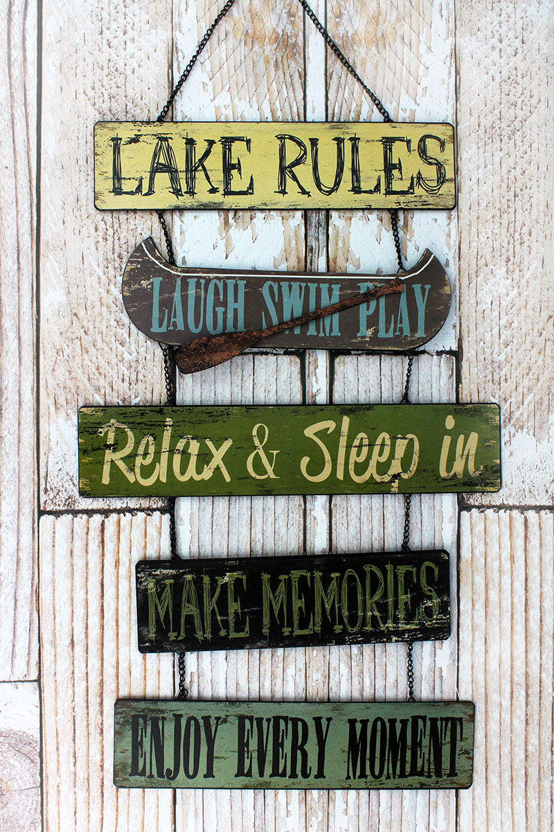 22 x 13.75 'Lake Rules' Metal Wall Hanging