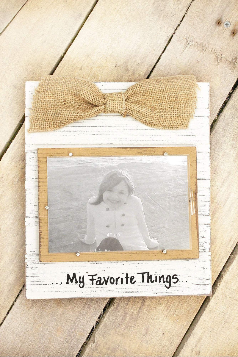 9.25 x 8 \'My Favorite Things\' Wood 4x6 Photo Frame with Burlap Bow ...