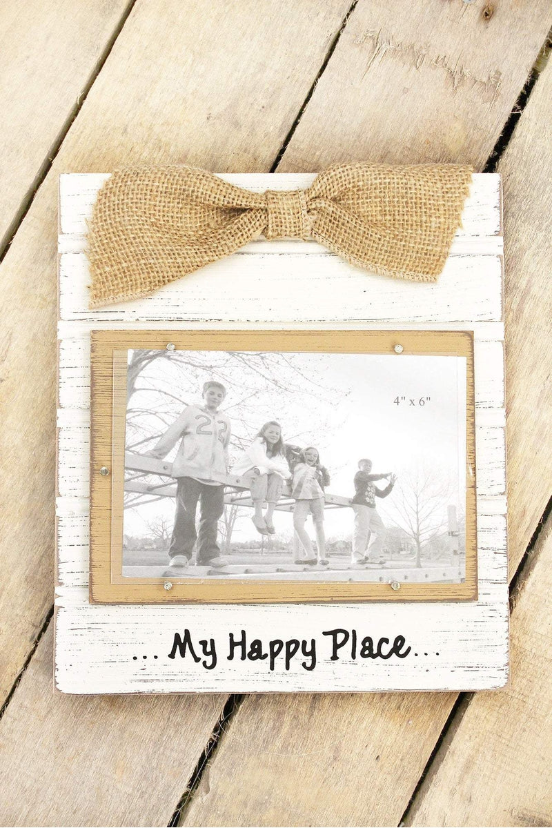 9.25 x 8 \'My Happy Place\' Wood 4x6 Photo Frame with Burlap Bow ...