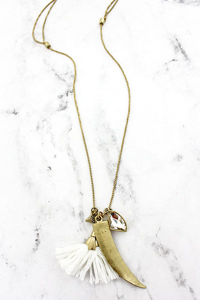 SALE! Goldtone Horn and White Tassel Multi-Pendant Adjustable Necklace