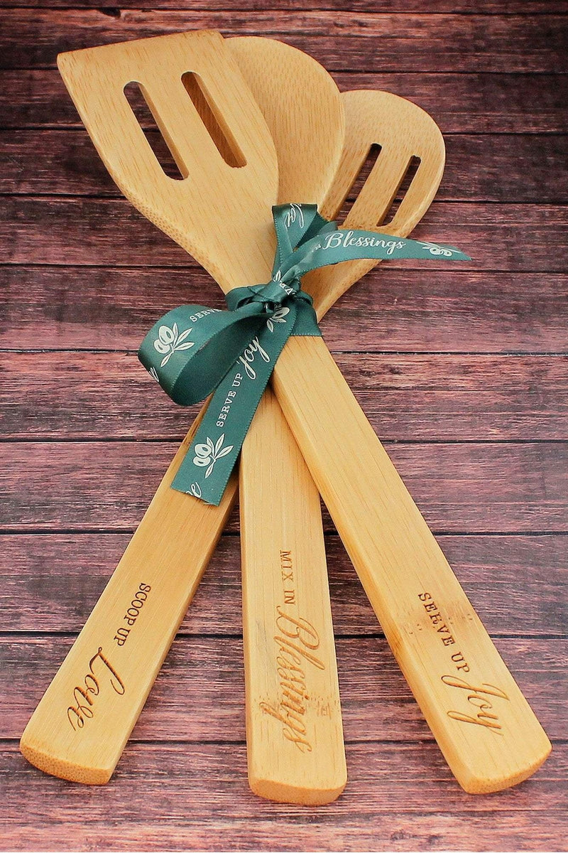 Love, Blessings, and Joy Bamboo Spoon Set