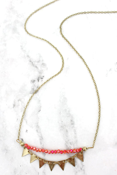 SALE! Orange Beaded Goldtone Triangle Charm Necklace