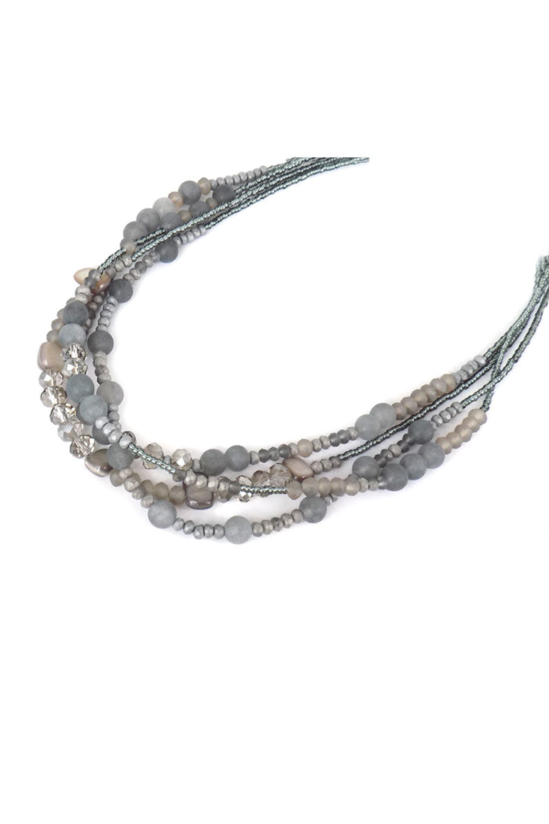 Layered Gray Semi Precious Stone Bead Medley Necklace