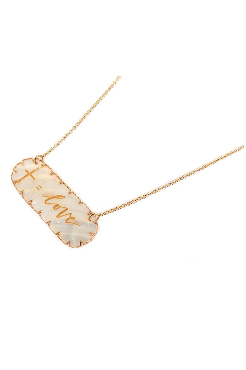 Goldtone 'Cross Equals Love' Shell Bar Pendant Necklace